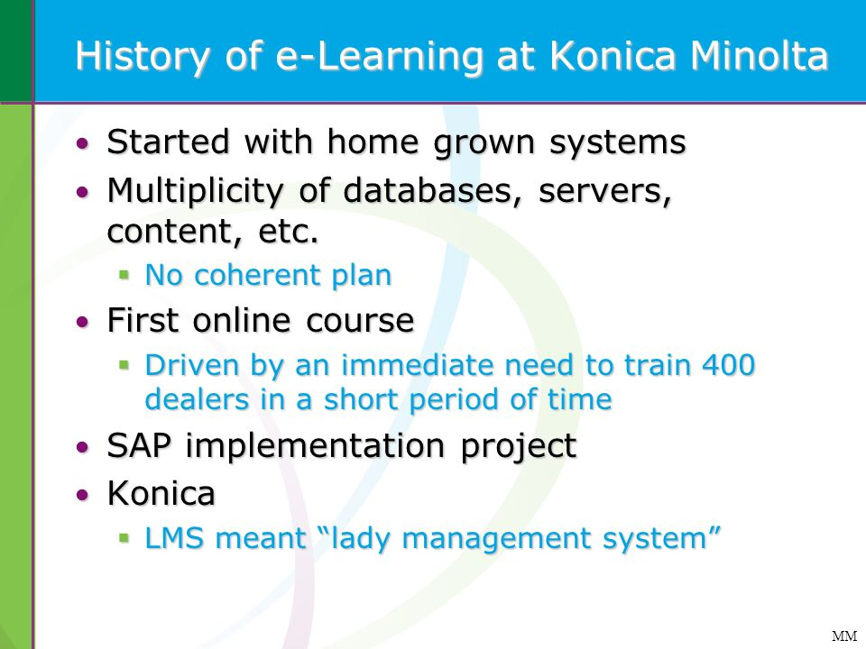 History of e-Learning at Konica Minolta