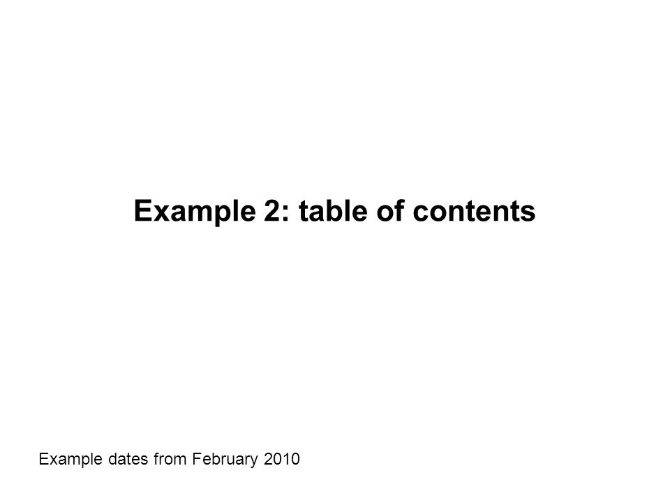Example 2: table of contents