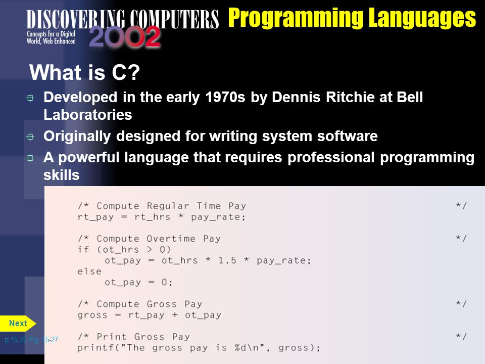 1dde65f7f 65 Programming Languages What is C  Developed in the early 1970s by Dennis  Ritchie at Bell Laboratories Originally designed for writing system ...