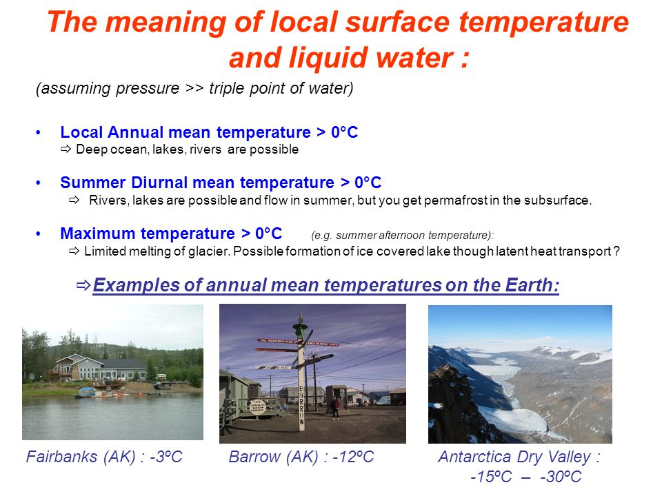 The meaning of local surface temperature and liquid water :