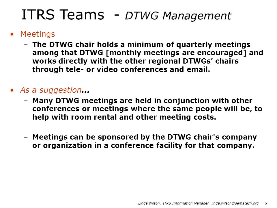 ITRS Teams - DTWG Management