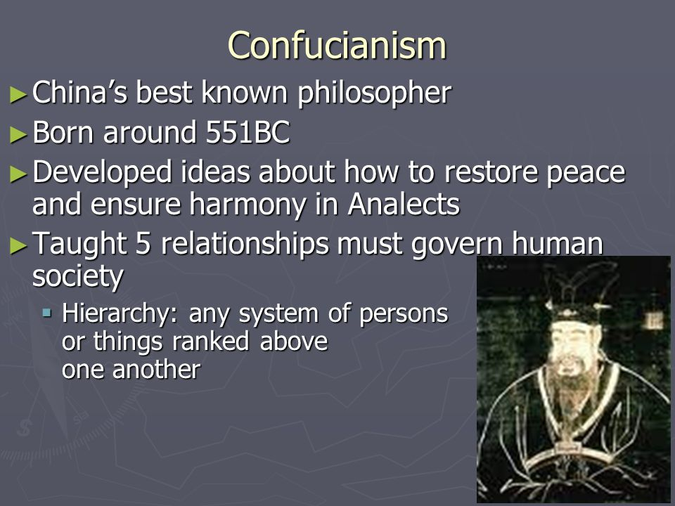 Confucianism China's best known philosopher Born around 551BC