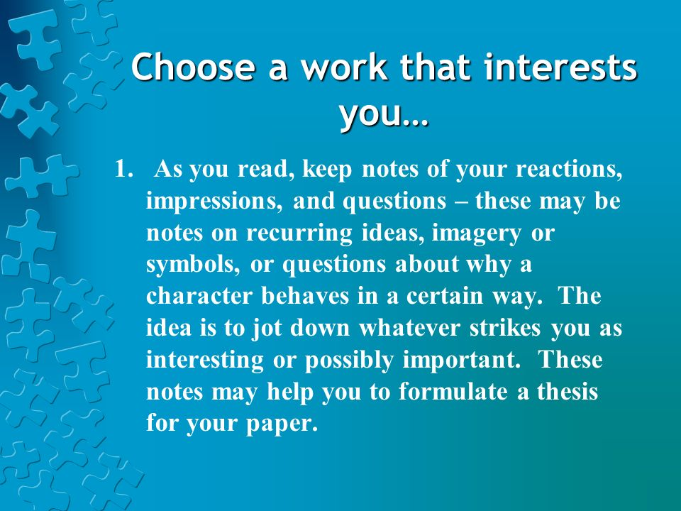 Choose a work that interests you…