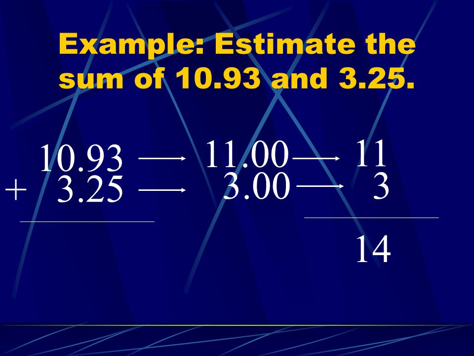 Example: Estimate the sum of 10.93 and 3.25.