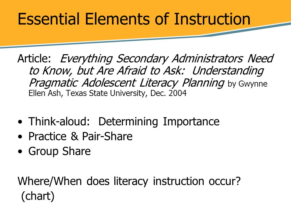 Essential Elements of Instruction