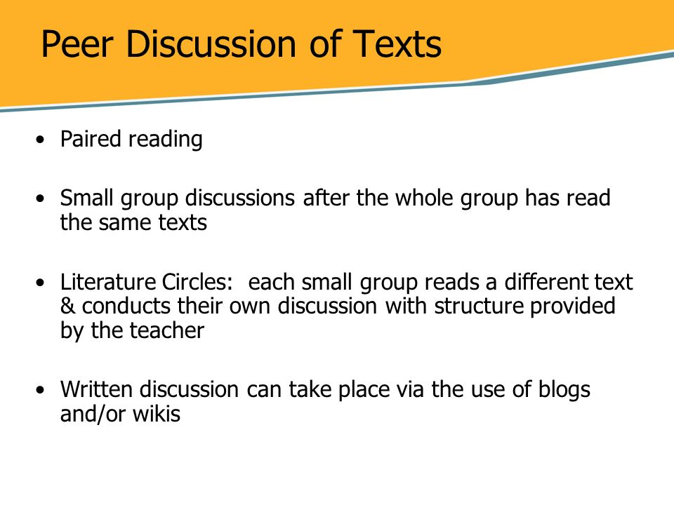 Peer Discussion of Texts