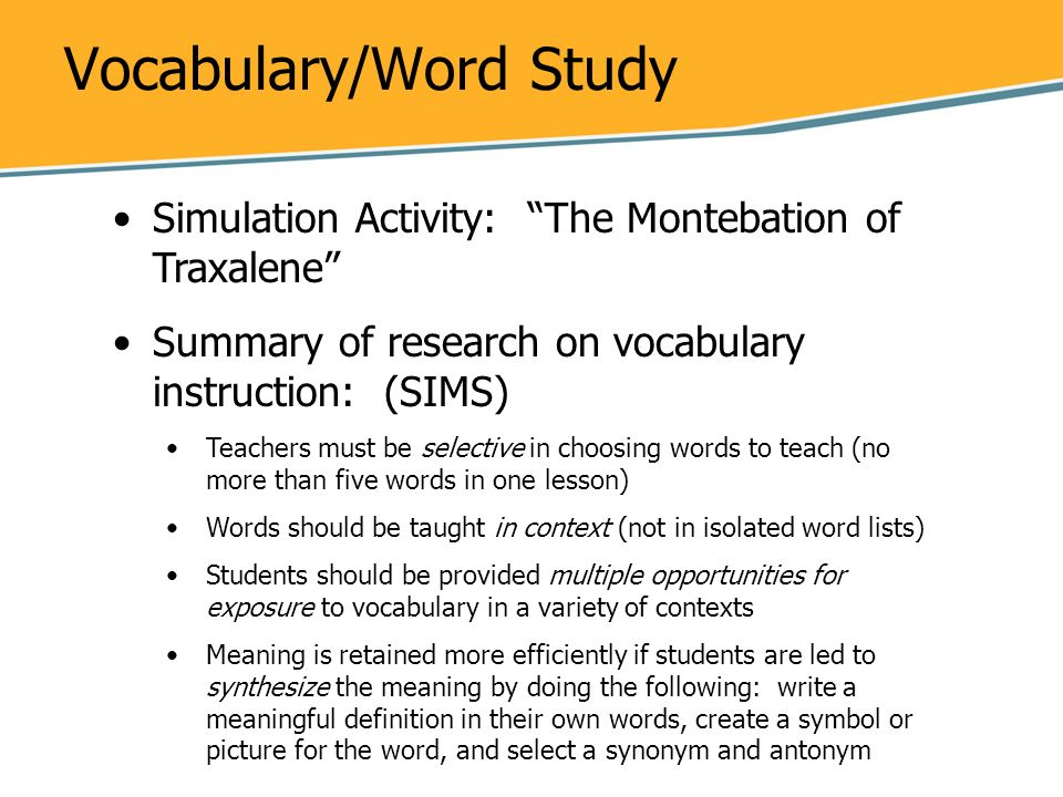Vocabulary/Word Study