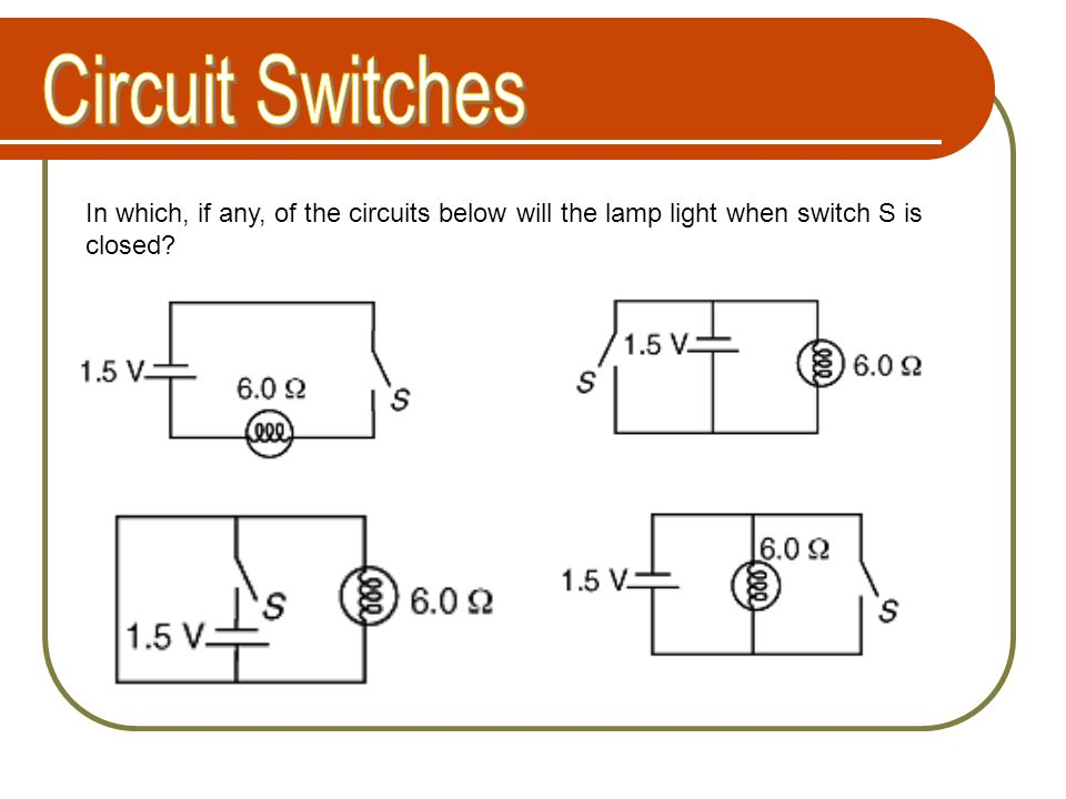 Circuit Switches In which, if any, of the circuits below will the lamp light when switch S is closed