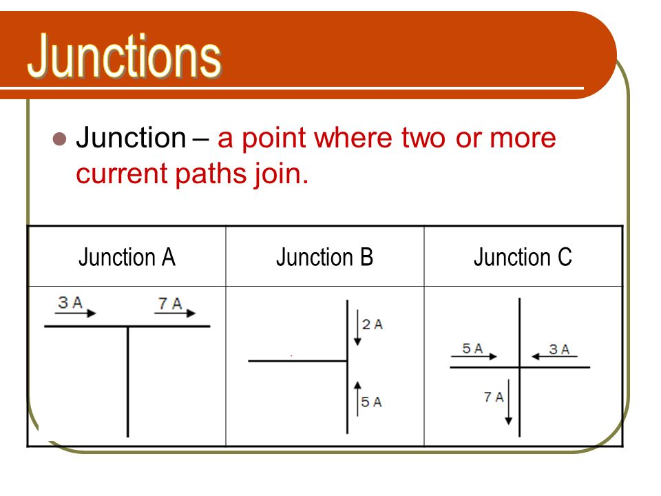 Junctions Junction – a point where two or more current paths join.