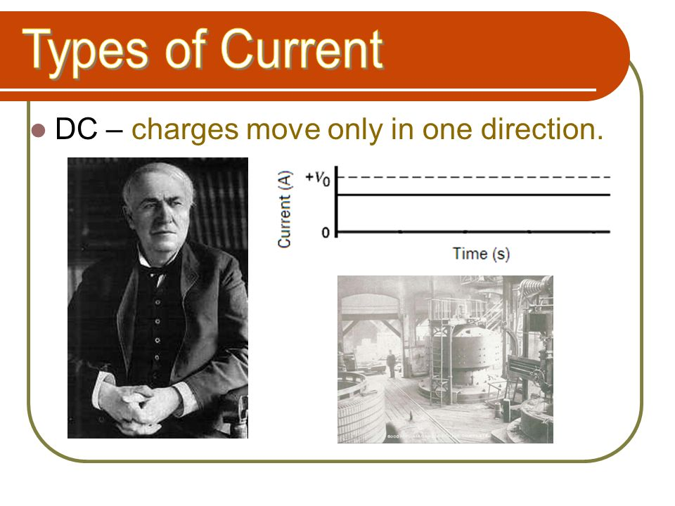 Types of Current DC – charges move only in one direction.