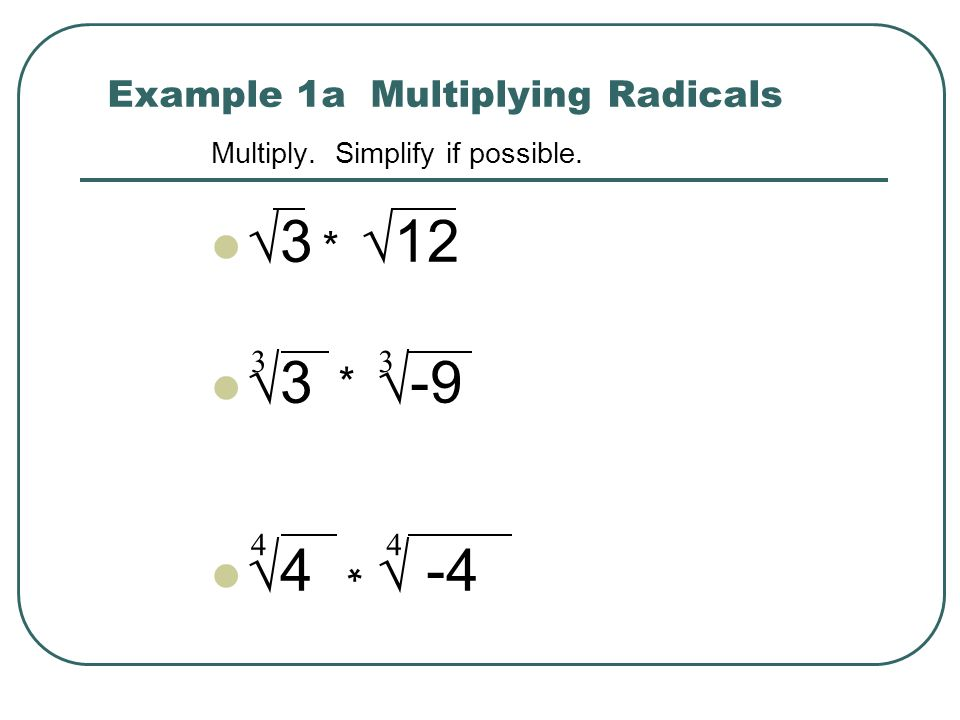 Example 1a Multiplying Radicals
