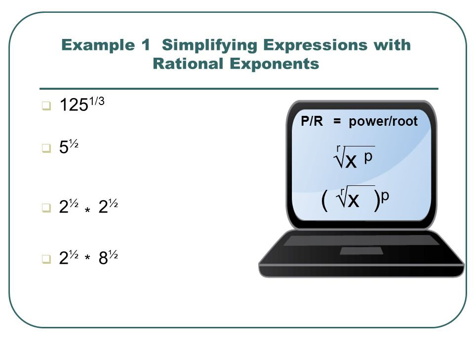 Example 1 Simplifying Expressions with Rational Exponents
