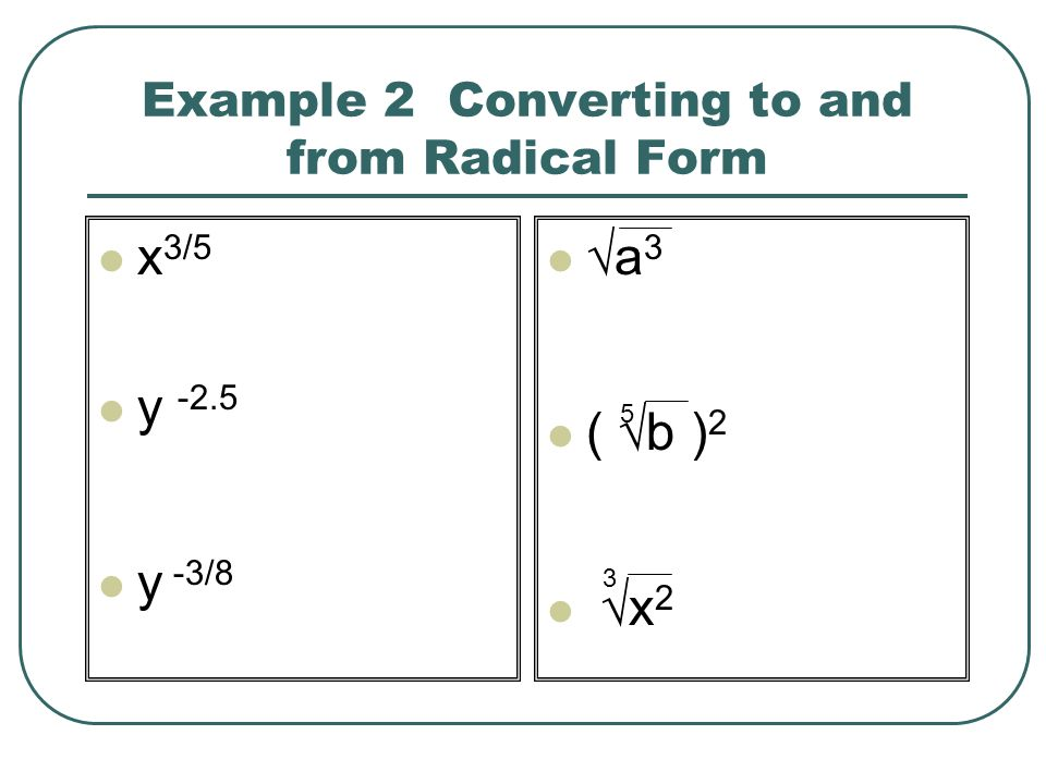 Example 2 Converting to and from Radical Form