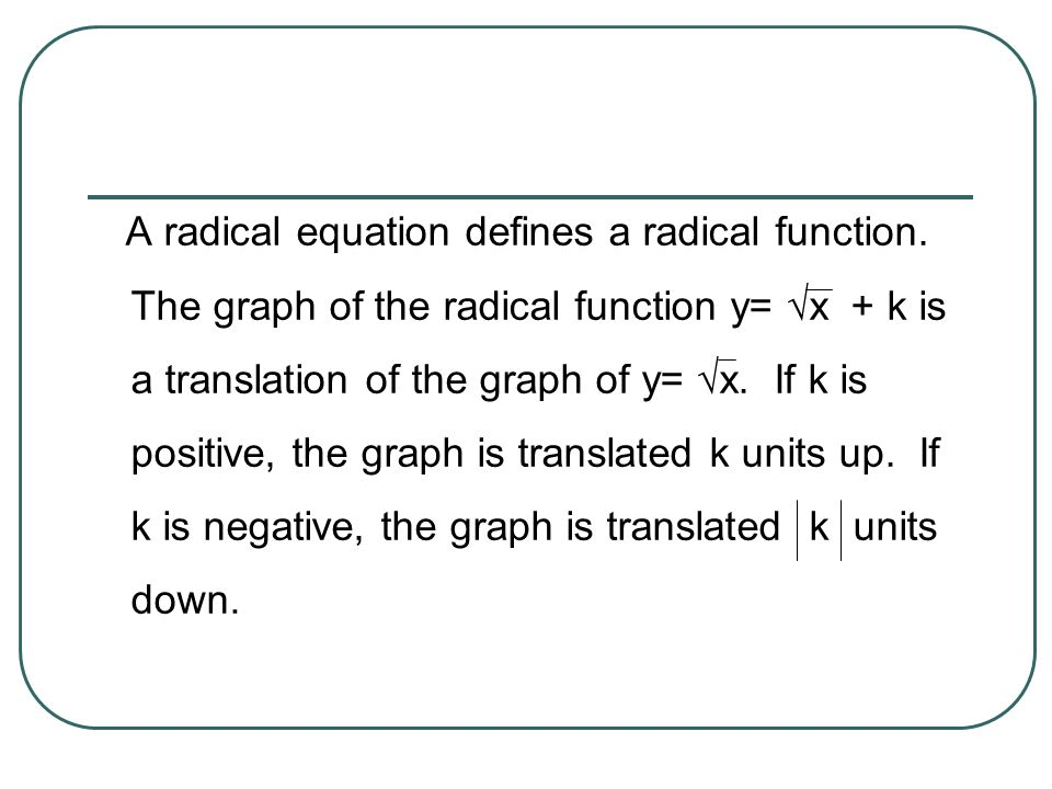 A radical equation defines a radical function