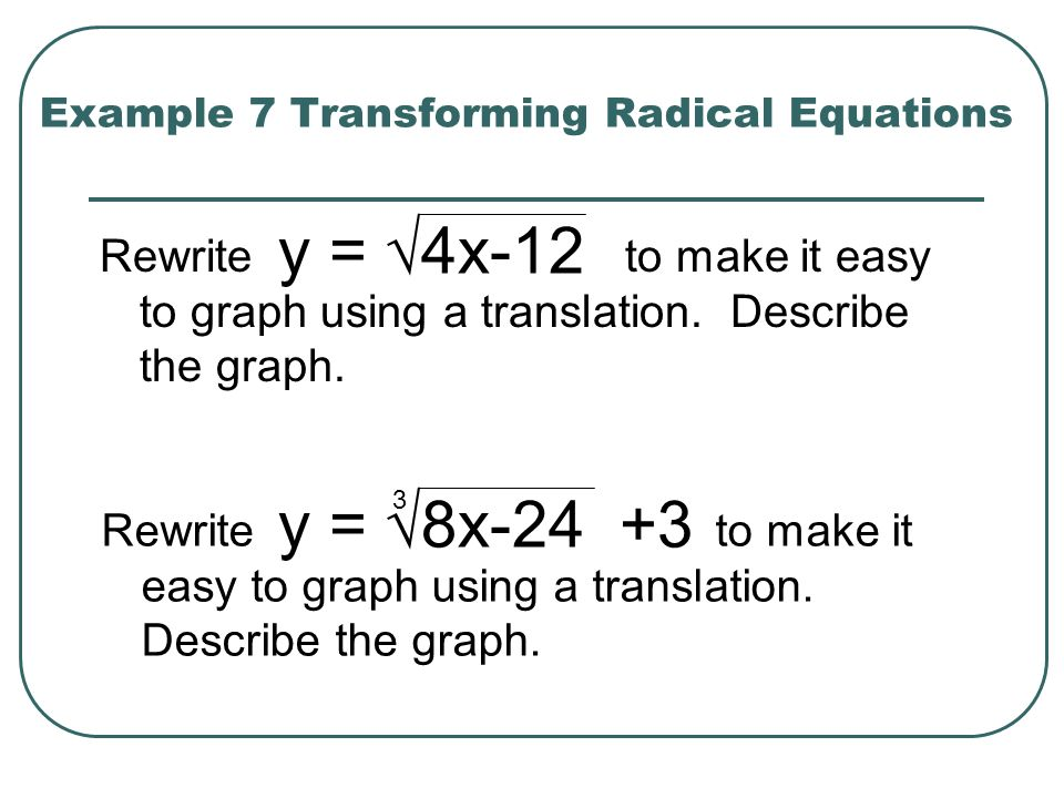 Example 7 Transforming Radical Equations