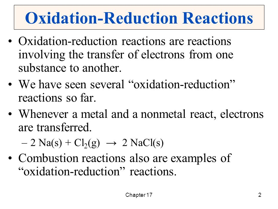 oxidation reduction reaction labpaq An oxidation-reduction (redox) reaction is a type of chemical reaction that involves a transfer of electrons between two species an oxidation-reduction reaction is.