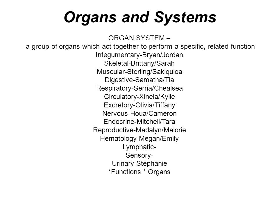 Organs and Systems ORGAN SYSTEM –