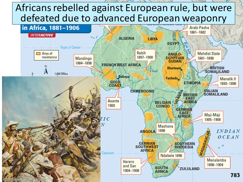 Africans rebelled against European rule, but were defeated due to advanced European weaponry