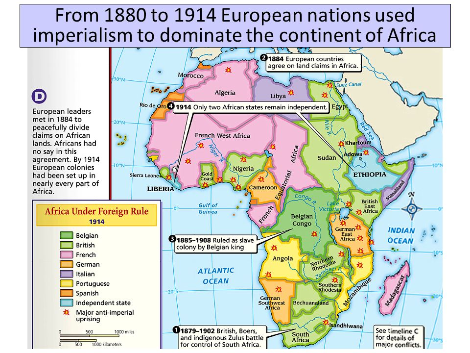 From 1880 to 1914 European nations used imperialism to dominate the continent of Africa