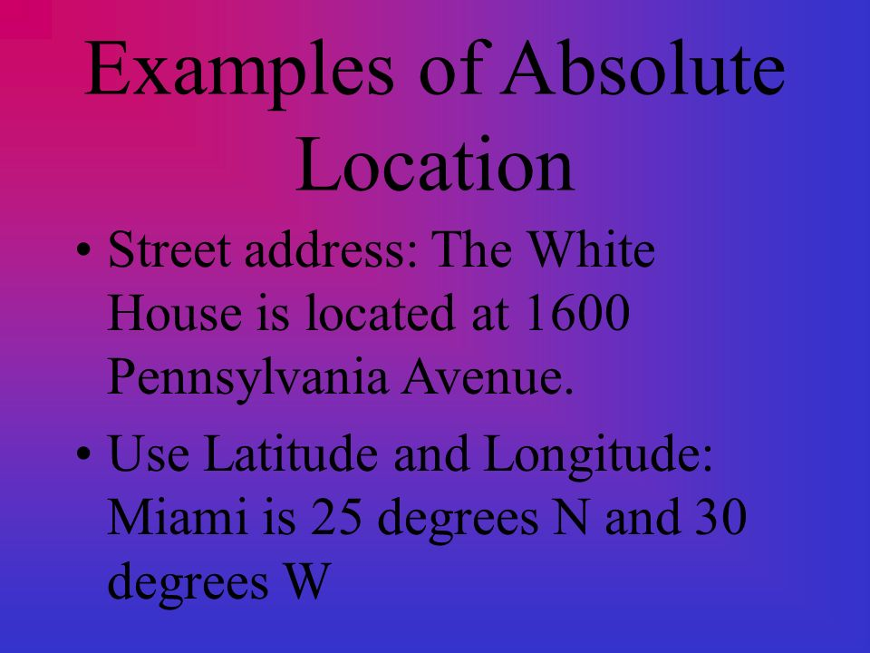 Location Where Is It Includes Absolute And Relative Location