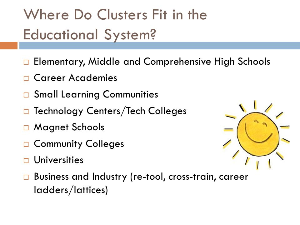 Where Do Clusters Fit in the Educational System