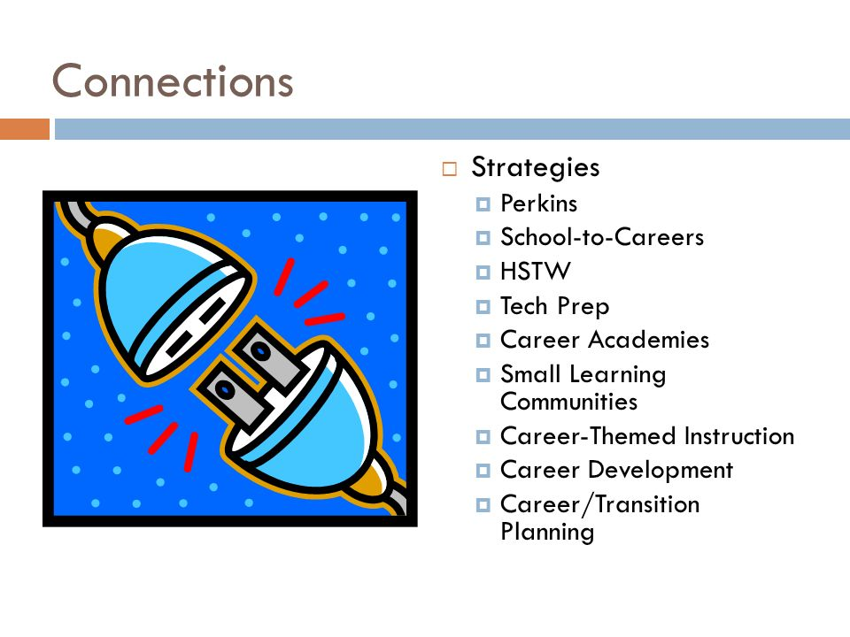 Connections Strategies Perkins School-to-Careers HSTW Tech Prep