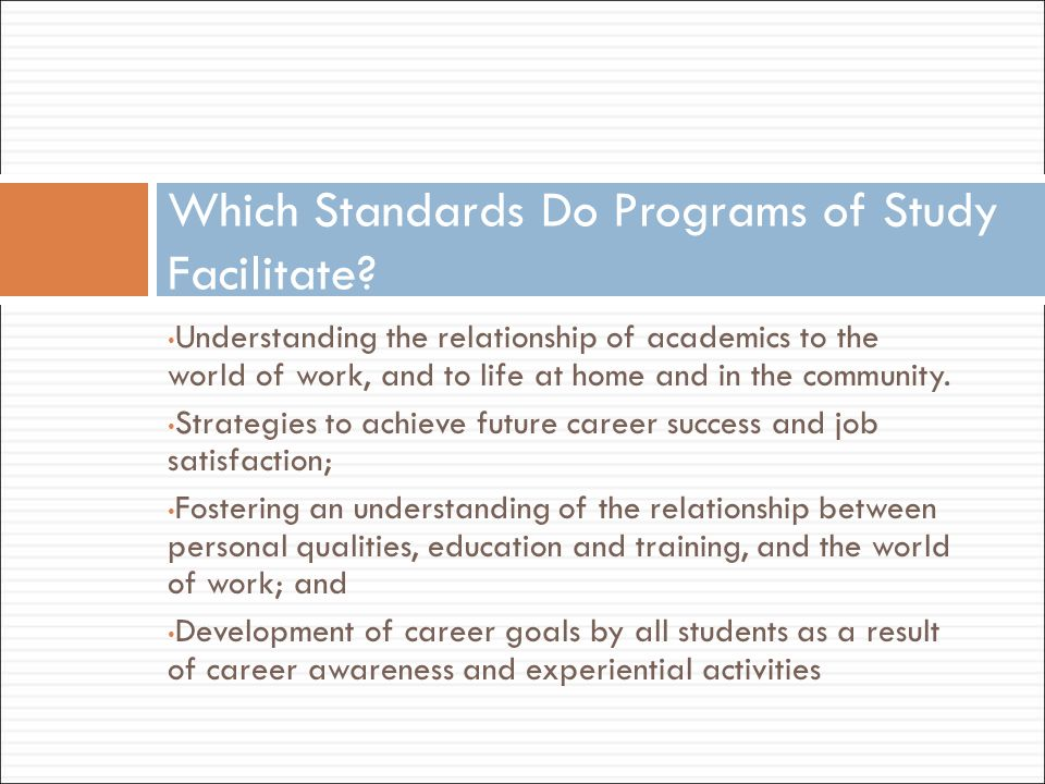 Which Standards Do Programs of Study Facilitate