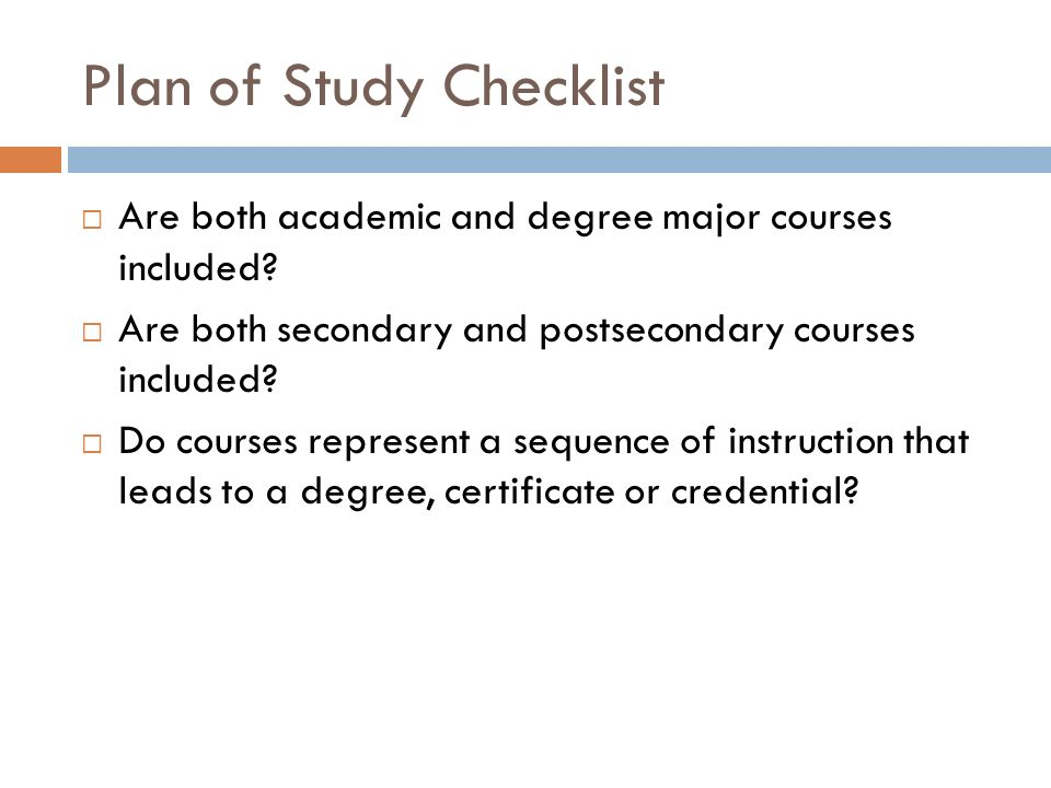 Plan of Study Checklist