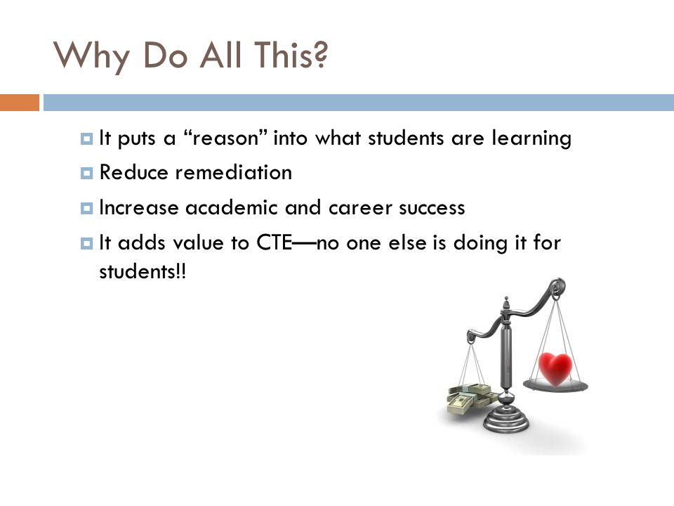 Why Do All This It puts a reason into what students are learning