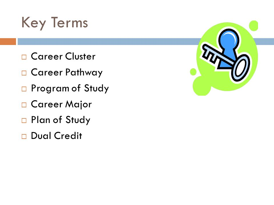 Key Terms Career Cluster Career Pathway Program of Study Career Major