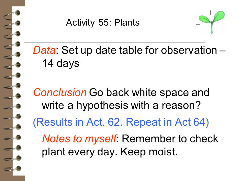 Data: Set up date table for observation – 14 days