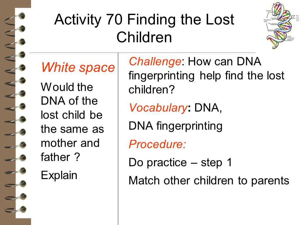 Activity 70 Finding the Lost Children