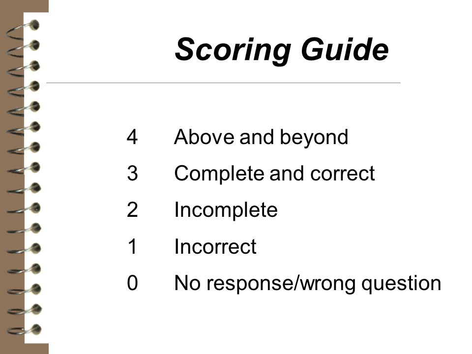Scoring Guide 4 Above and beyond 3 Complete and correct 2 Incomplete