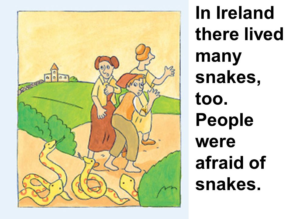 In Ireland there lived many snakes, too. People were afraid of snakes.