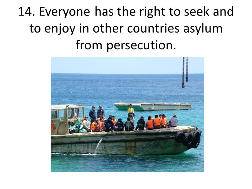 14. Everyone has the right to seek and to enjoy in other countries asylum from persecution.
