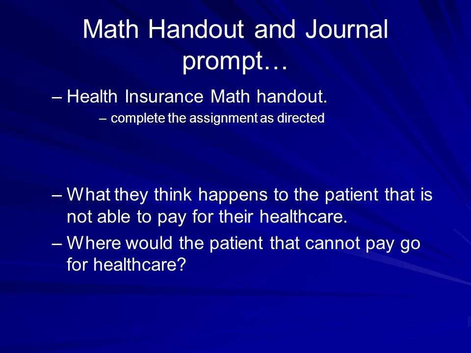 Math Handout and Journal prompt…
