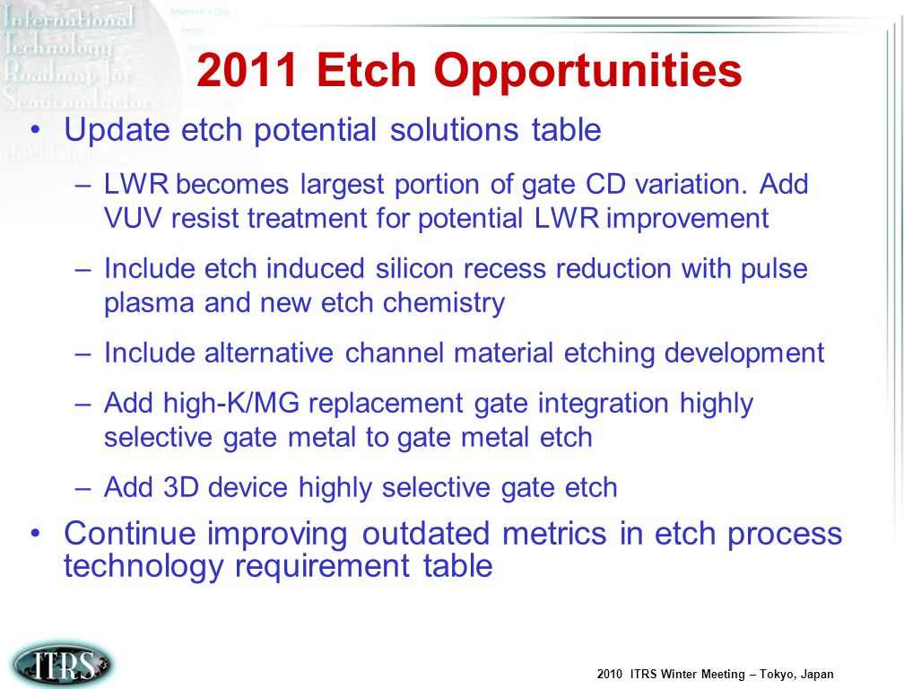 2011 Etch Opportunities Update etch potential solutions table