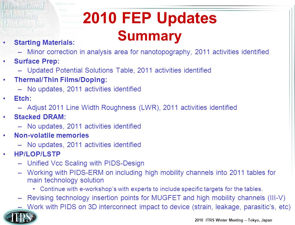 2010 FEP Updates Summary Starting Materials: