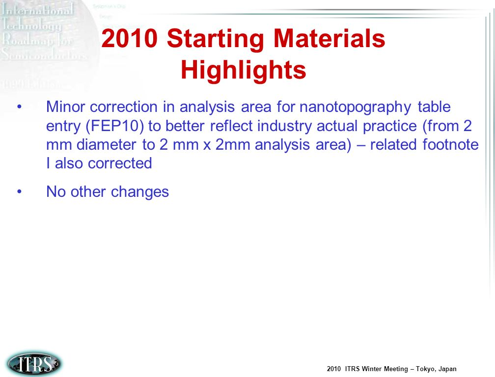 2010 Starting Materials Highlights