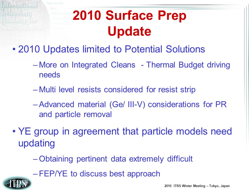 2010 Surface Prep Update 2010 Updates limited to Potential Solutions