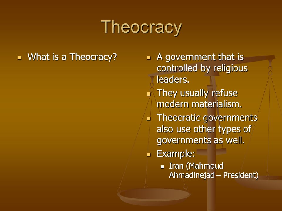 Theocracy What is a Theocracy