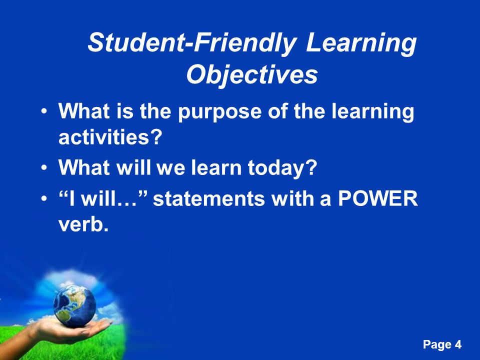 Student-Friendly Learning Objectives