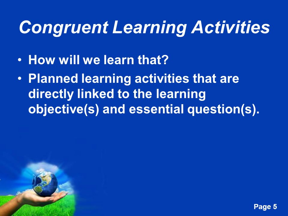 Congruent Learning Activities