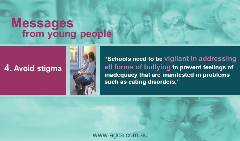 Messages from young people 4. Avoid stigma