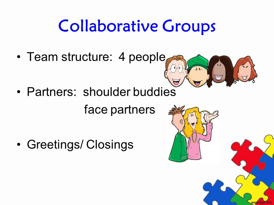 Collaborative Groups Team structure: 4 people