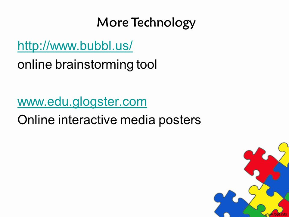 More Technology http://www.bubbl.us/ online brainstorming tool.