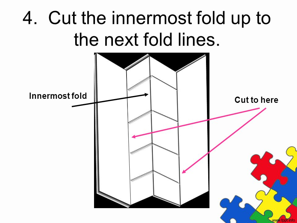4. Cut the innermost fold up to the next fold lines.