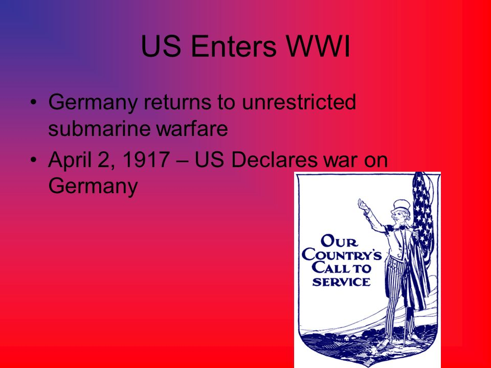 US Enters WWI Germany returns to unrestricted submarine warfare