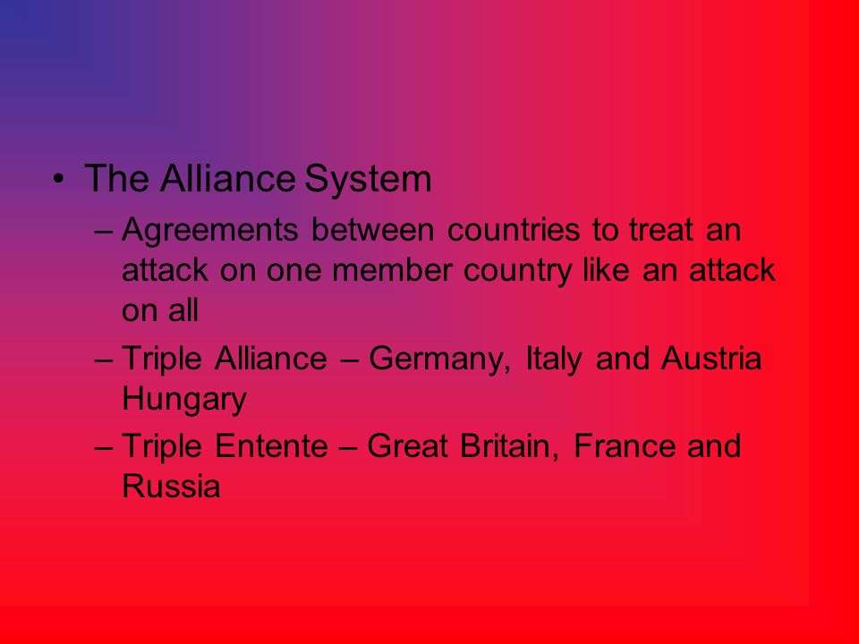 The Alliance System Agreements between countries to treat an attack on one member country like an attack on all.