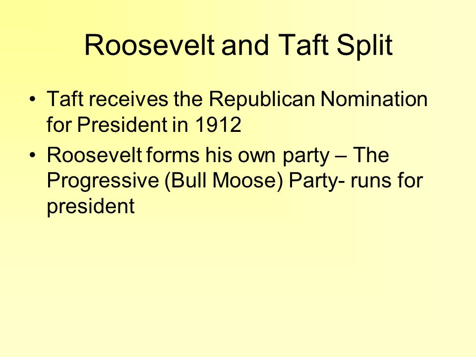 Roosevelt and Taft Split